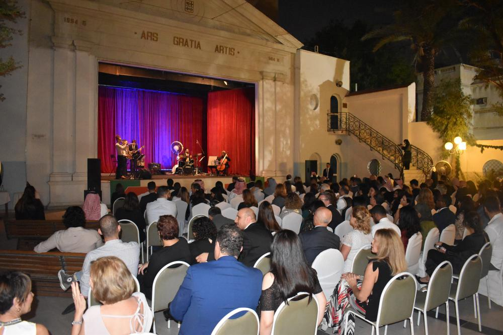 Santa Cecilia Jazz Ensemble performing for an audience of Saudis and Italians at the Italian Cultural Center.
