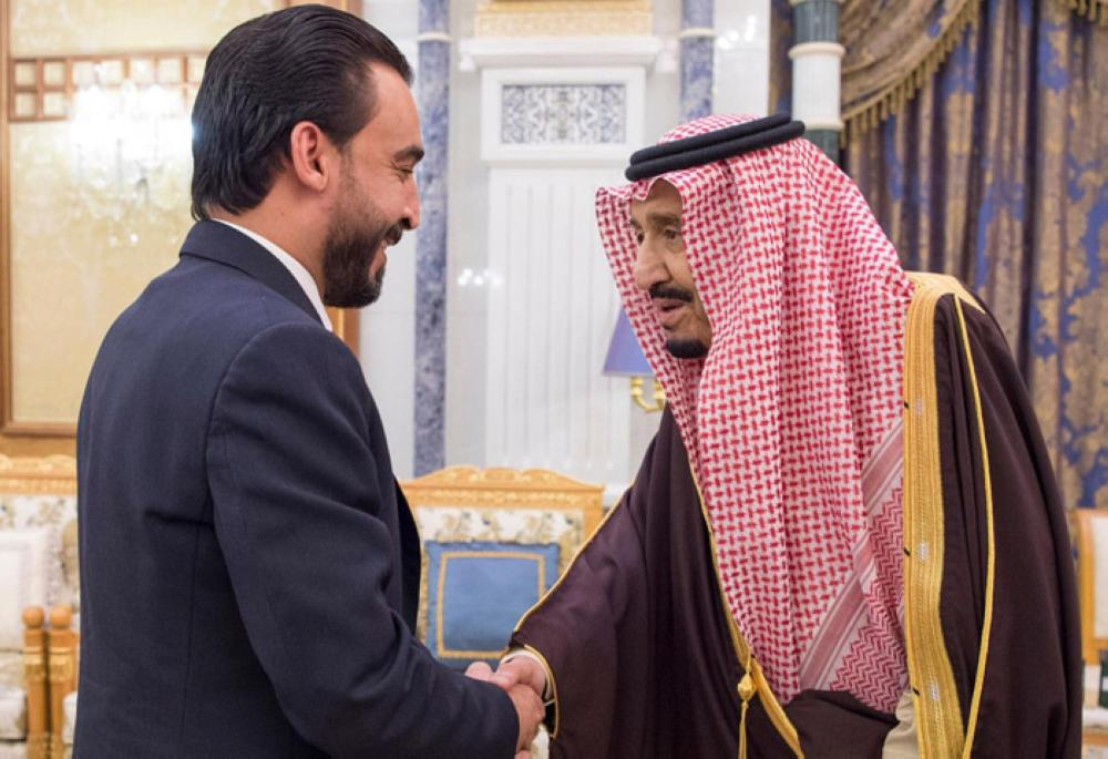 Custodian of the Two Holy Mosques King Salman receives Iraq's speaker of the Council of Representatives Mohamed Al-Halbousi and a number of Iraqi members of parliament at Al-Yamamah Palace in Riyadh on Monday. In a separate audience, the King received the emirs, the Grand Mufti of the Kingdom, Ulema, and a group of citizens who came to greet him. — SPA