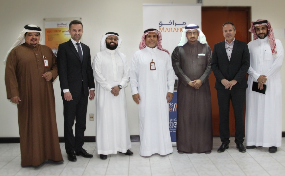 From left: Tariq Al-Suhayyan, Lead SAP Consultant, Marafiq; Andy Froemmel, Head of Cloud Solutions, SAP Saudi Arabia; Abdurrahman Atiqullah, Digital Transformation Leader, Energy Industry – SAP Saudi Arabia; Ahmed Al-Khars, General Manager, Information Technology – Marafiq; Mosaab Al-Moaily, Manager and Project Leader, Information Technology – Marafiq; Hans Juergen Schmitt, Account Executive  – SAP Saudi Arabia; Fahd Nawwab: Director, Energy Industry – SAP Saudi Arabia. – SG