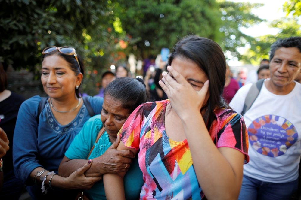 Imelda Cortez reacts as she leaves a court of law after being acquitted of attempted aggravated murder under the country's abortion law, in Usulutan, El Salvador, on Monday. — Reuters
