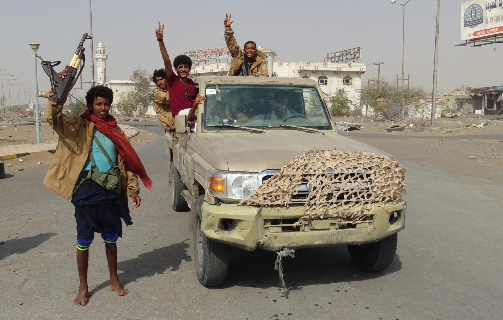 Yemeni pro-government forces in the port city of Hodeida before the start of ceasefire. — AFP