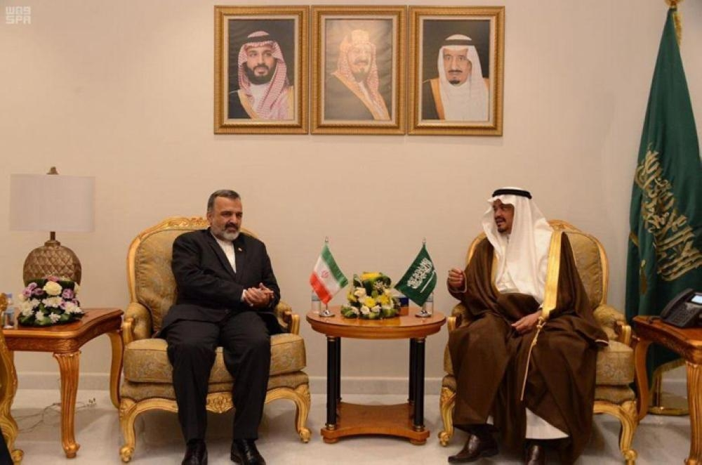 Minister of Haj and Umrah Muhammad Benten holds talks with Ali Riza Rasheed, head of the Iranian Haj and Visit Organization, at his office in Makkah on Tuesday. -SPA