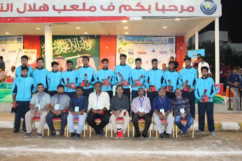 IISJ football team, Physical Education Head and coach Rasheed Alikkal with guests and officials