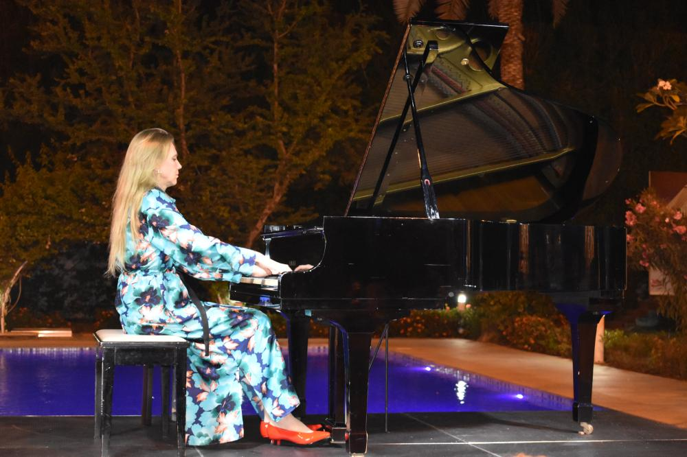 Finnish pianist Laura Mikkola playing at the residence of France's Consul General. — SG photo by Abdulaziz Hammad