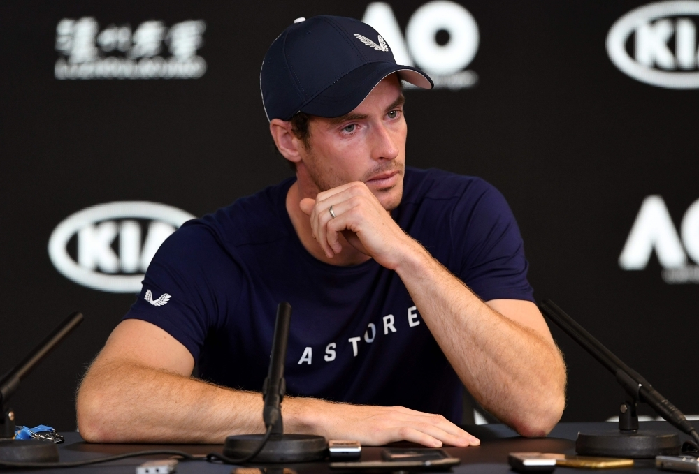 Andy Murray of Great Britain breaks down during a press conference in Melbourne on Friday, ahead of the Australian Open tennis tournament.  Injury-plagued Murray said he is set to retire this year and hopes to make it till Wimbledon, but conceded the Australian Open could be his last event. — AFP