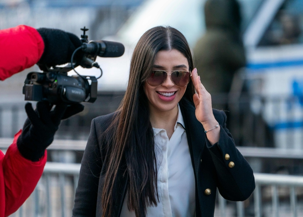 """The wife of Joaquin """"El Chapo"""" Guzman, Emma Coronel Aispuro, arrives at the US Federal Courthouse in Brooklyn in New York on Monday. — AFP"""
