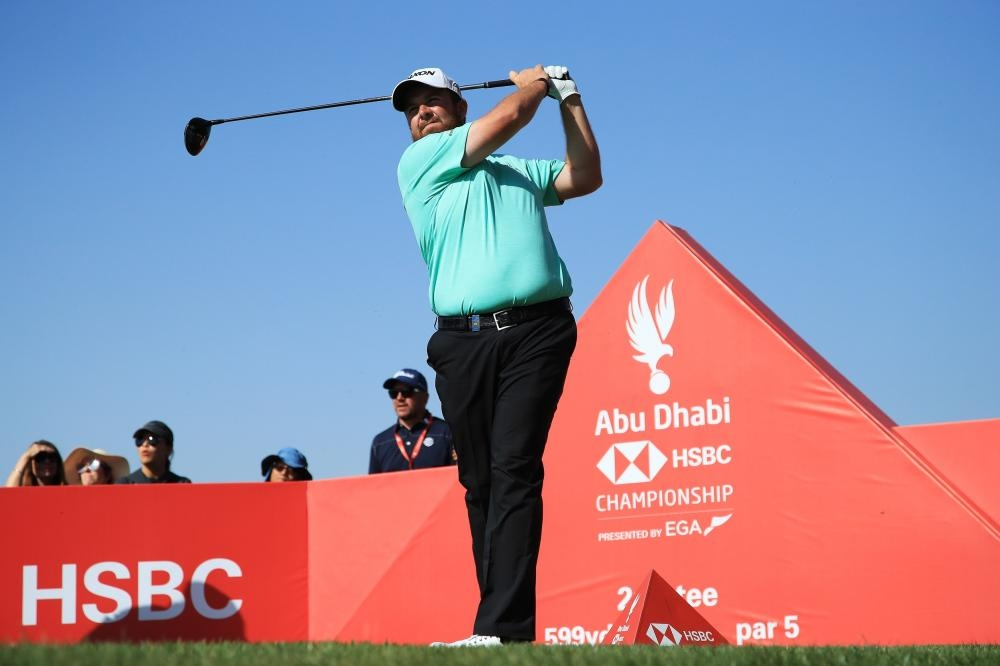 Shane Lowry of Ireland plays his shot from the second tee on the opening day of the Abu Dhabi HSBC Golf Championship at Abu Dhabi Golf Club Wednesday. — AFP