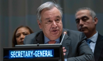 United Nations Secretary General Antonio Guterres addresses the United Nations Group of 77 and China at the United Nations in New York. — AFP