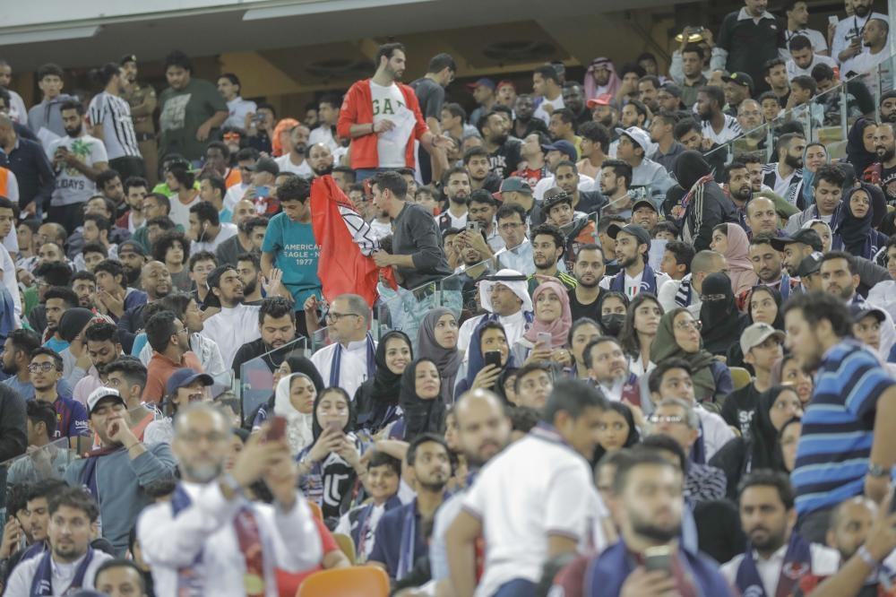 Excited fans cheering their favorite Italian team — Juventus or AC Milan — at the Italian Super Cup match in Jeddah on Wednesday.