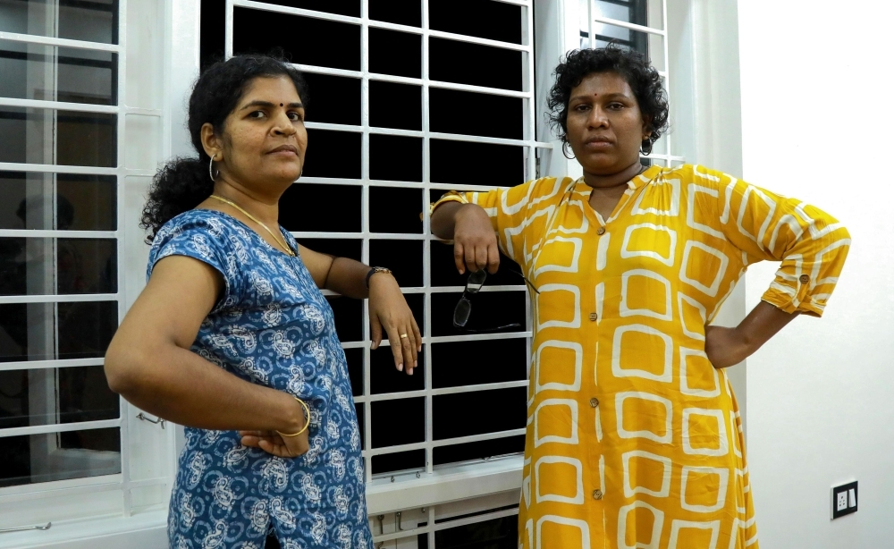 Bindu Ammini, right, and Kanakadurga, left, the two Indian women who entered the Sabarimala Ayyapa temple, pose for photographs during an interview with the media in Kochi in the southern state of Kerala in this Jan.11, 2019 file photo. — AFP