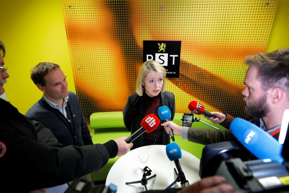Marie Benedicte Bjornland, chief of  PST (Norwegian Police Security Service) speaks during a news conference about a knife a attack in a supermarket, in Oslo, Norway, on Friday. — Reuters