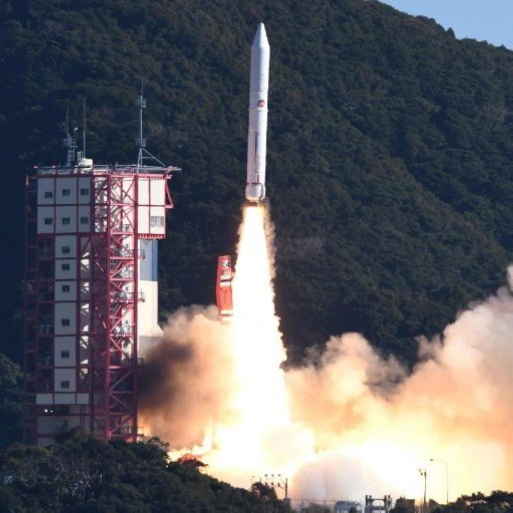 The Epsilon-4 rocket blasts off from the Uchinoura Space Center in Kimotsuki, Kagoshima Prefecture, on Friday, carrying satellites, including one developed by a Tokyo venture company to create an artificial meteor shower. — Courtesy photo