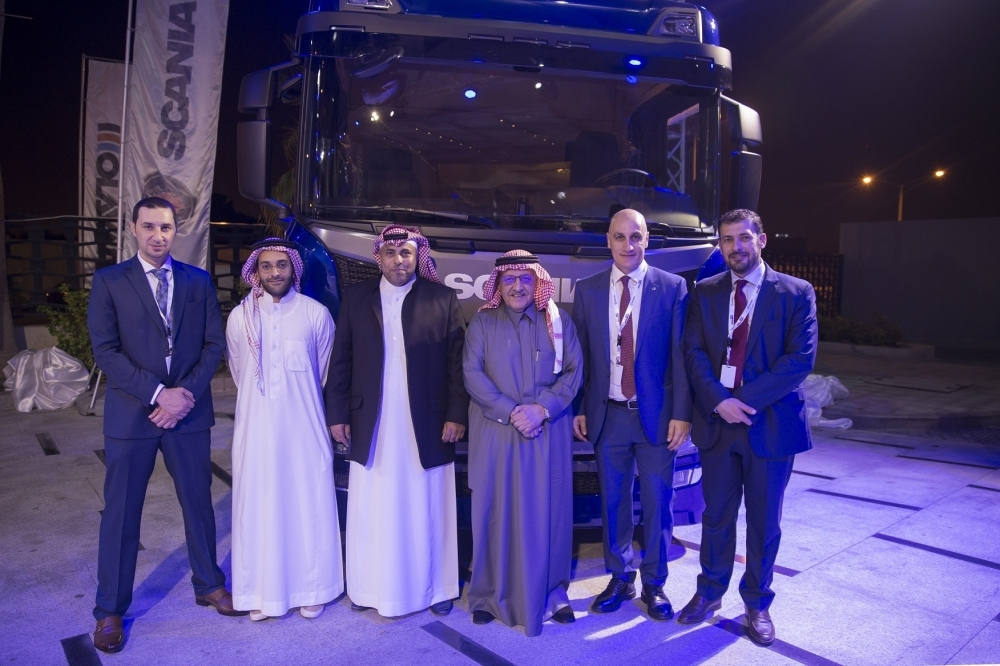 Executives of Scania and GCC Olayan at the launch of new truck generation in Saudi Arabia