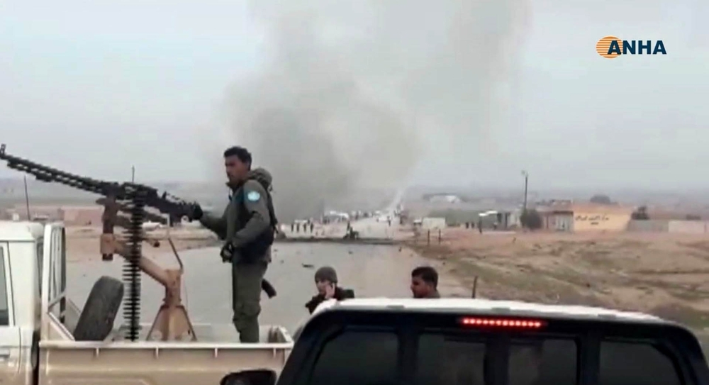 An image grab taken from a video published by Hawar News Agency (ANHA) on Monday shows the scene of a suicide car bomb attack on a military convoy on a road in Syria's northeastern Hasakeh province, which killed five members of a Kurdish-led force accompanying US-led coalition troops. — AFP