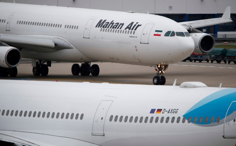 An Airbus A340-300 of Iranian airline Mahan Air taxis at Duesseldorf airport DUS, Germany, in this recent photo. — Reuters