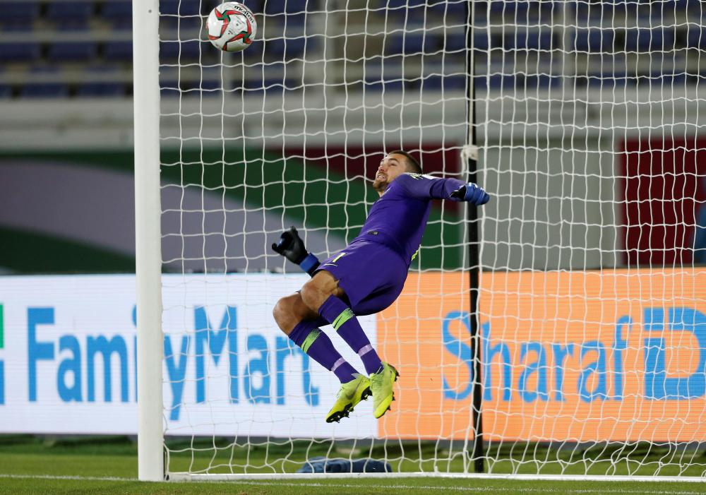 Australia's goalkeeper Mathew Ryan in action during the penalty shootout against Uzbekistan at Khalifa Bin Zayed Stadium, Al-Ain, Monday. — Reuters