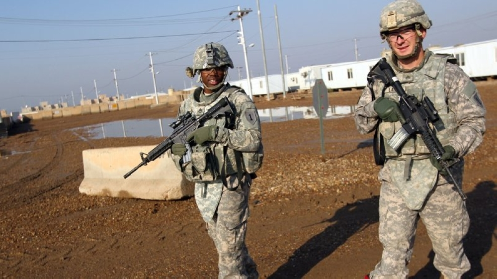 US soldiers patrol the Taji base complex, which hosts Iraqi and US troops north of the capital Baghdad. Taji is one of an eventual five sites where the US and allied countries aim to train 5,000 Iraqi military personnel every six to eight weeks for combat against Daesh (so-called IS) militia. — File photo