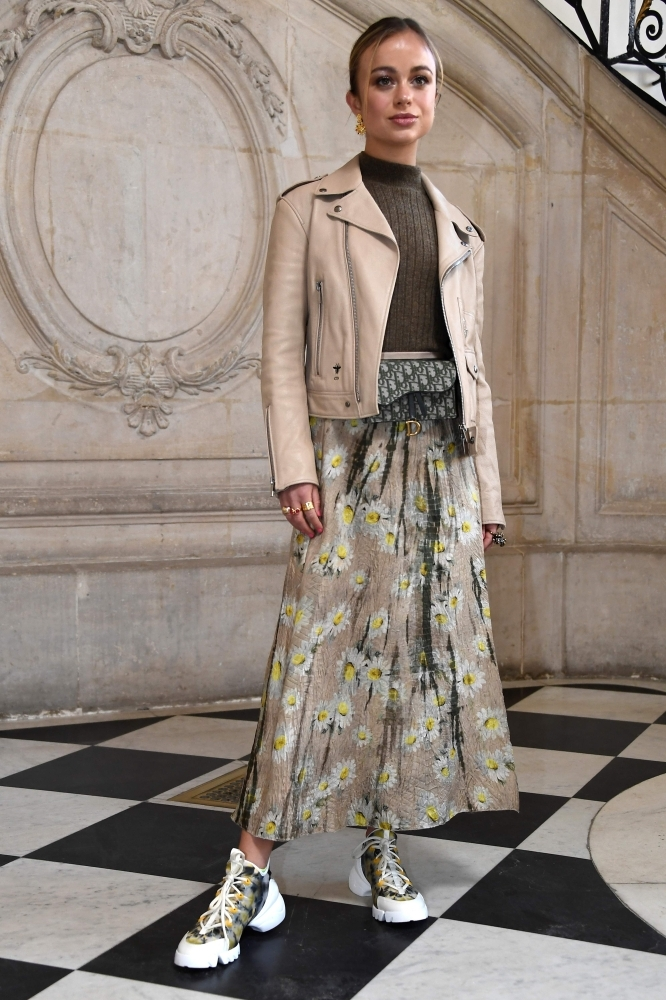 British model Amelia Windsor poses during a photocall prior to the 2019 Spring-Summer Haute Couture collection fashion show by Christian Dior in Paris. — AFP