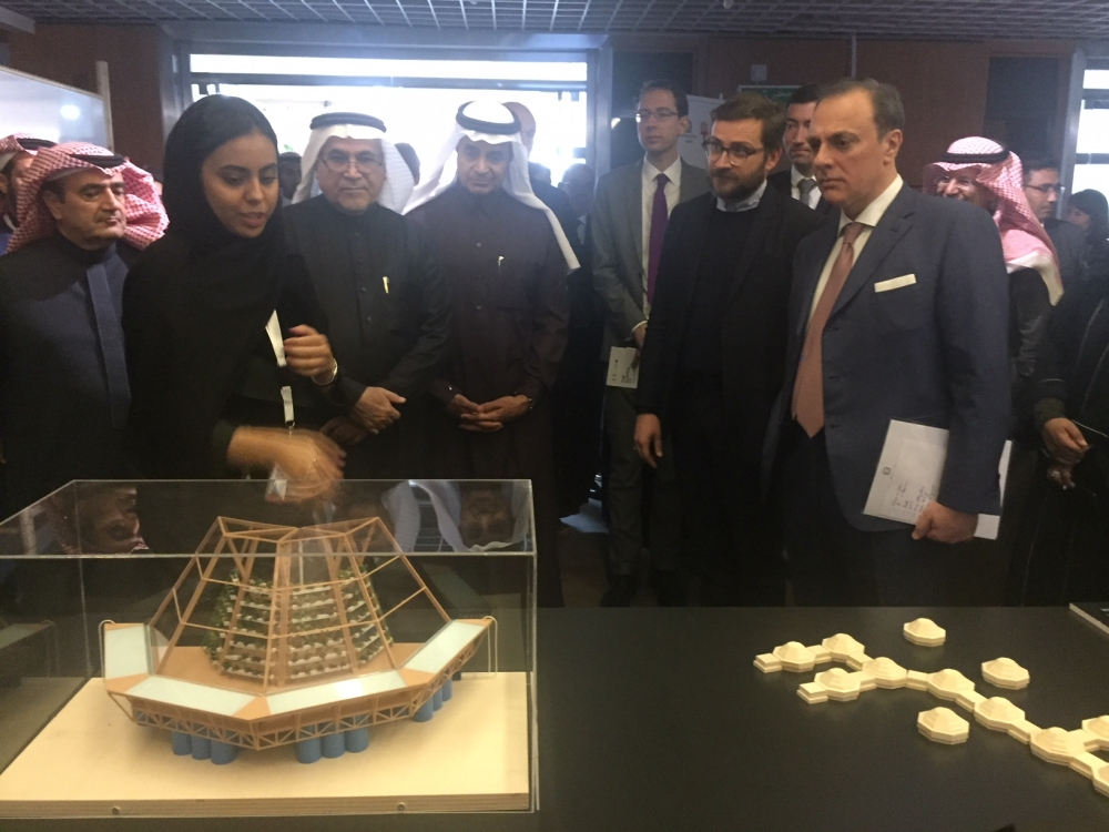 Officials tour the Trame d'Acqua (The Shapes of Water) exhibition after its official launch at the Italian Embassy in Riyadh.