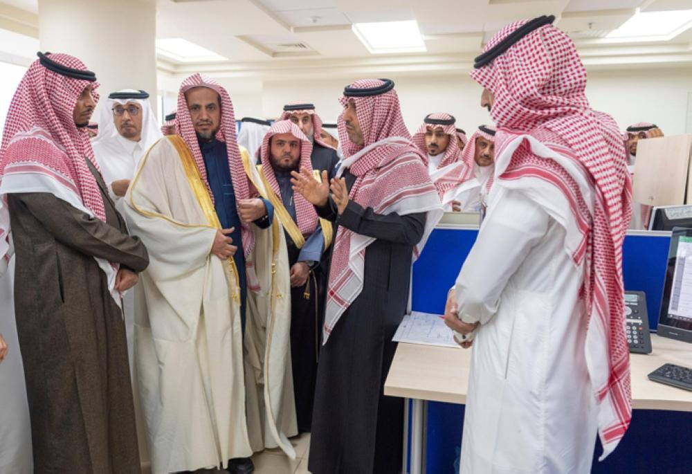 Attorney General Sheikh Saud Al-Moajab launching the Public Prosecution's Financial Reports Office at the headquarters of the General Auditing Bureau (GAB) along with Dr. Hussam Al-Anqari, chairman of GAB on Monday. — SPA