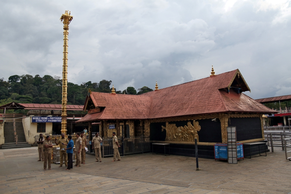 Police stand inside the premises of the Sabarimala temple in Pathanamthitta district in the southern state of Kerala, India, in this file photo. — Reuters