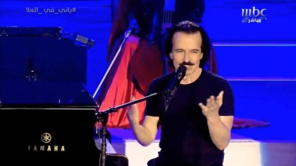 Greek composer and musician Yanni at a concert in Al-Ula as part of the Winter at Tantora festival.