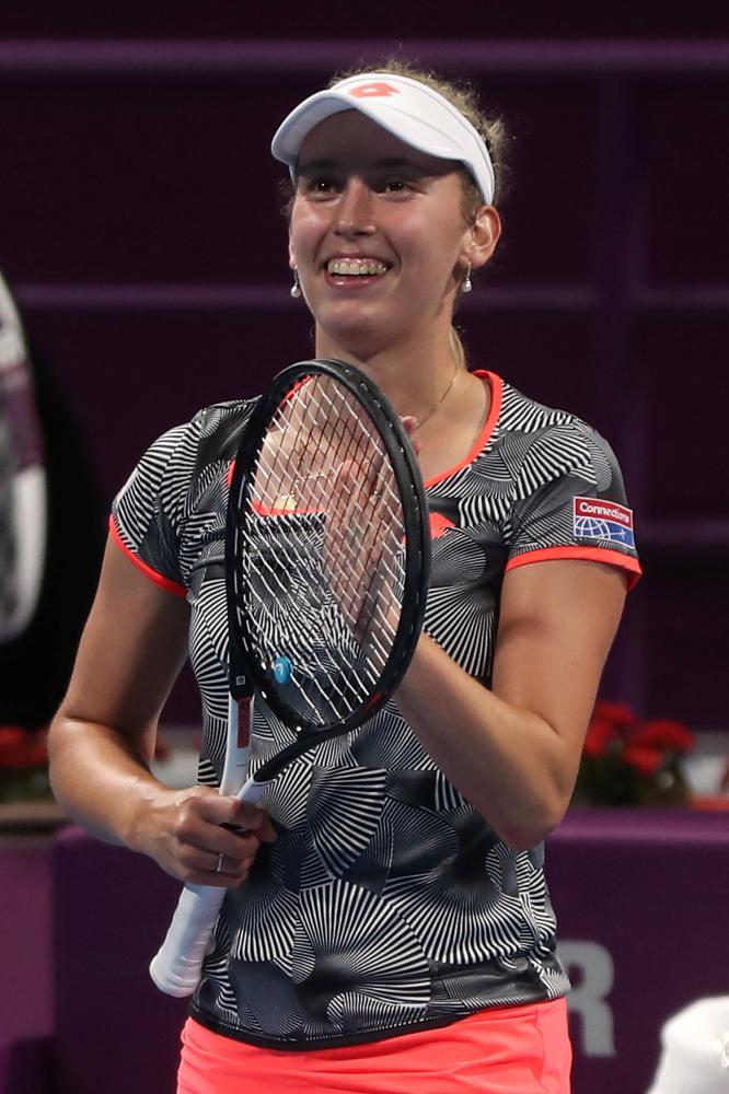 Elise Mertens celebrates victory. — AFP