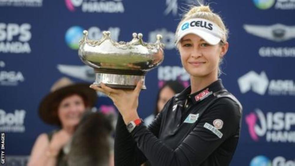 Nelly Korda with LPGA Australian Open Trophy. — AFP