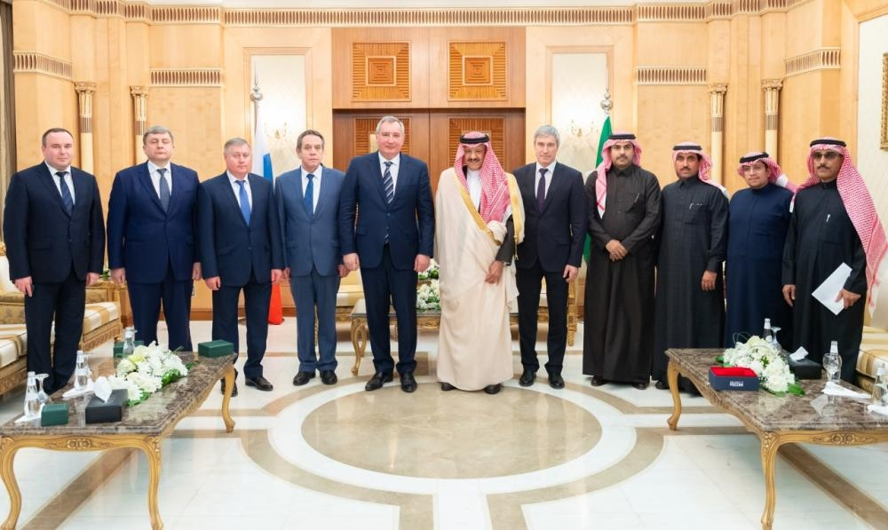 Prince Sultan Bin Salman, chairman of the Saudi Space Commission, with the Russian delegation.