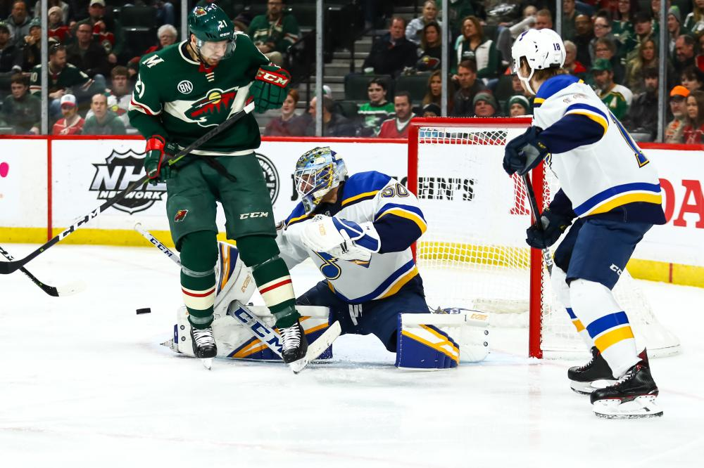 St. Louis Blues' goaltender Jordan Binnington makes a save in the second period against the Minnesota Wild during their NHL game at Xcel Energy Center in Saint Paul Sunday. — Reuters