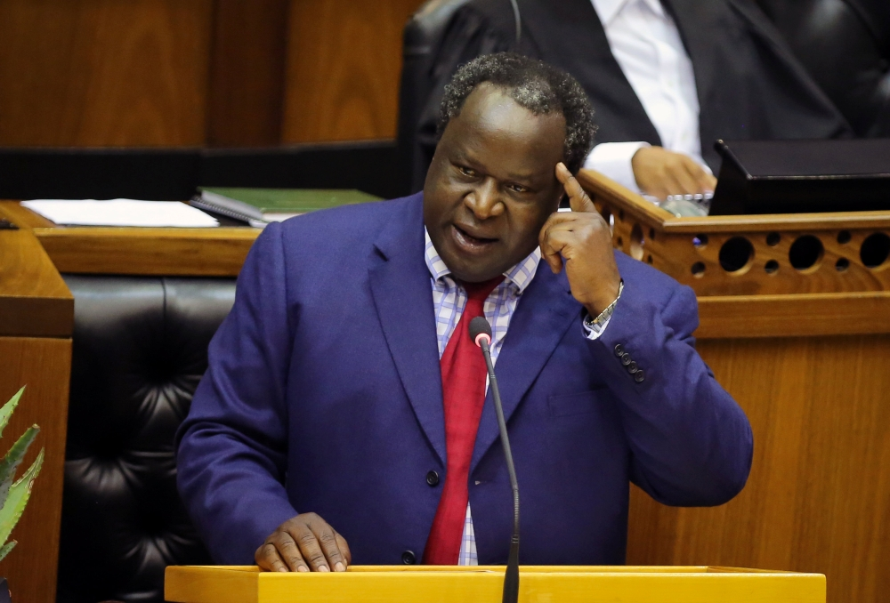 South African Finance Minister Tito Mboweni delivers his Budget Speech at Parliament in Cape Town, South Africa, on Wednesday. — Reuters