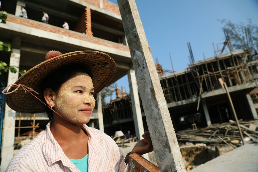 Workers are seen at a hotel construction site at Ngapali beach in Thandwe, Rakhine State, Myanmar, on Tuesday. — Reuters