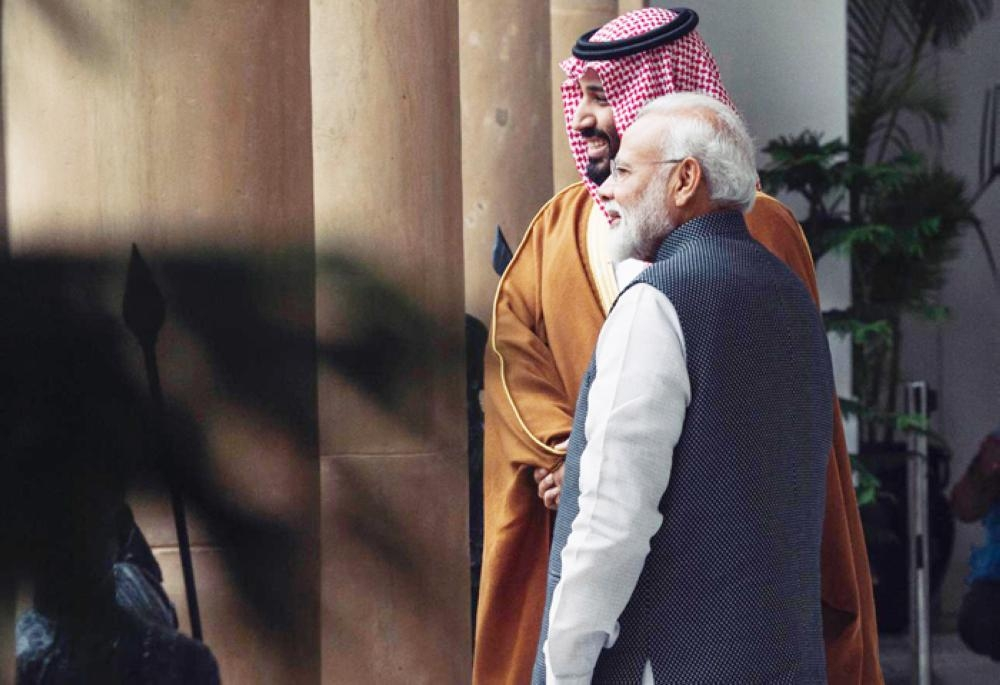 Crown Prince Muhammad Bin Salman is received by Indian Prime Minister Narendra Modi at Hyderabad House in New Delhi on Wednesday. — Photo by Bandar Al-Jaloud
