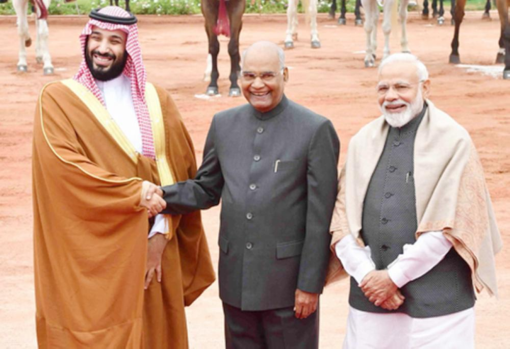 Crown Prince Muhammad Bin Salman is welcomed by India's Prime Minister Narendra Modi and President Ram Nath Kovind during his ceremonial reception at the forecourt of Rashtrapati Bhavan presidential palace in New Delhi on Wednesday. — Courtesy photo