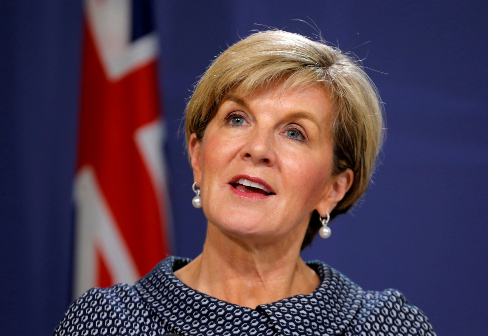 Former Australian Foreign Minister Julie Bishop speaks at a press conference in Sydney, Australia, in this May 4, 2017 file photo. — Reuters