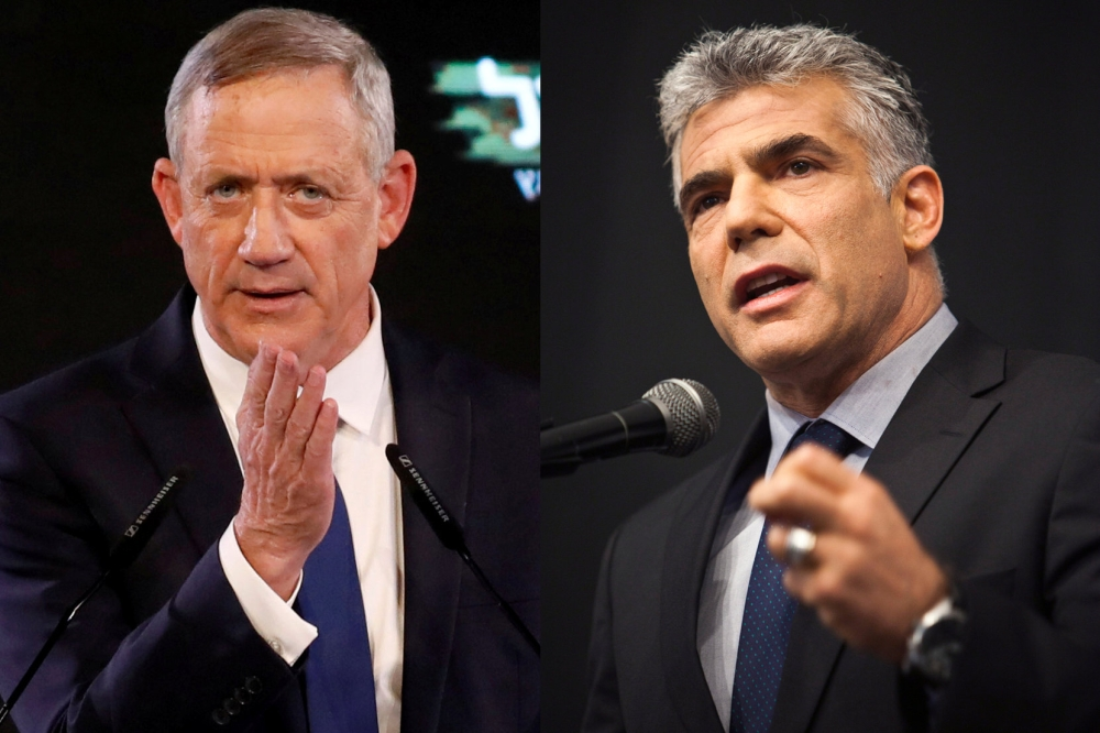 A combination of file photos shows Benny Gantz, a former Israeli armed forces chief and head of Israel Resilience party, at the party campaign launch in Tel Aviv, Israel, on Jan. 29, 2019 and Yair Lapid, head of Yesh Atid party, at the Ariel University Centre in the Jewish settlement of Ariel in the Israeli-occupied West Bank on Oct. 30, 2012. — Reuters