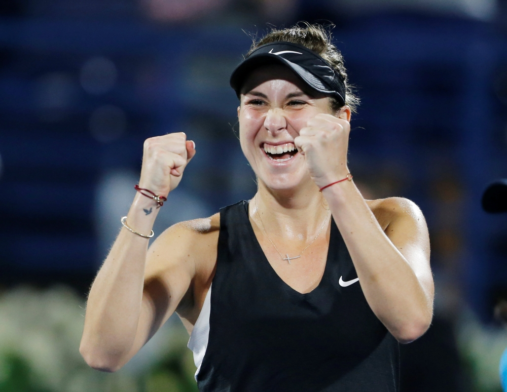 Switzerland's Belinda Bencic celebrates after winning the semifinal against Ukraine's Elina Svitolina in the Dubai Tennis Championships at the Dubai Duty Free Tennis Stadium, Dubai, UAE, — Reuters