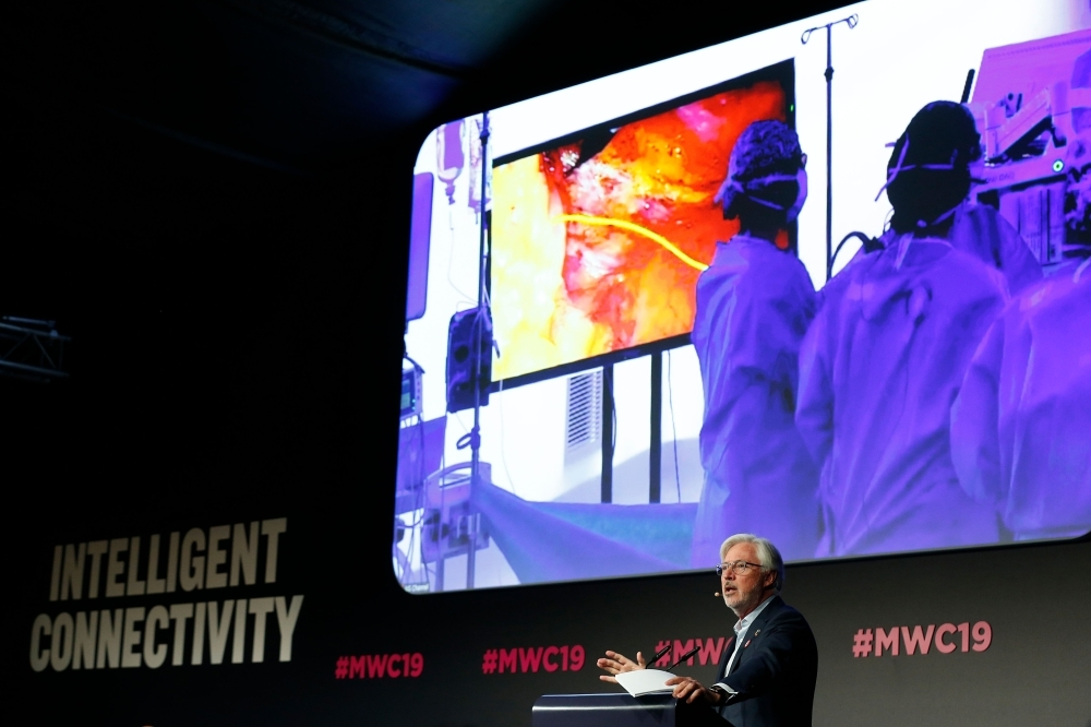 Doctor Antonio Lacy of Hospital Clinic de Barcelona delivers a speech at the Mobile World Congress (MWC) in Barcelona on Wednesday. — AFP