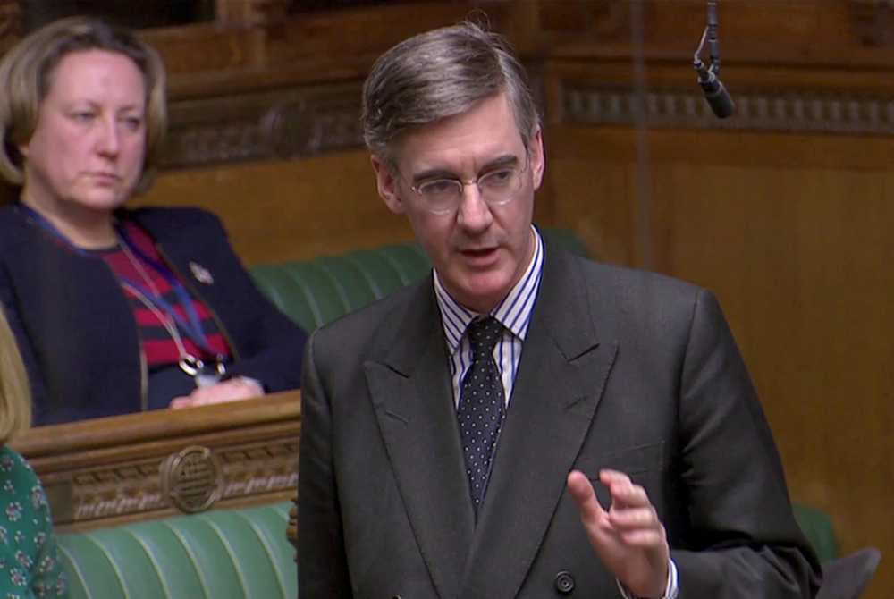 British Conservative Party Member of Parliament Jacob Rees-Mogg speaks in Parliament in London in this March 12, 2019 file photo. — Reuters