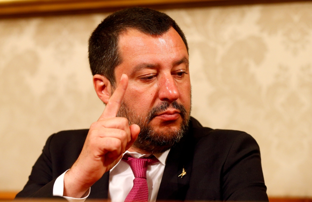 Italian Interior Minister Matteo Salvini gestures at a news conference at the Senate upper house parliament building in Rome, Italy, in this March 8, 2019 file photo. — Reuters