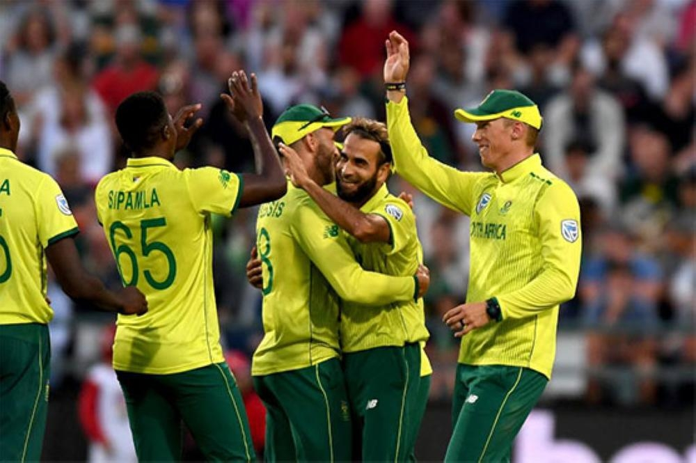 South Africa's players celebrate victory.