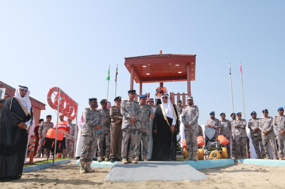 Emir of Jazan Prince Muhammad Bin Nasser and senior Border Guard officials at the inauguration of the first beach for special needs people on Al-Murjan Island.