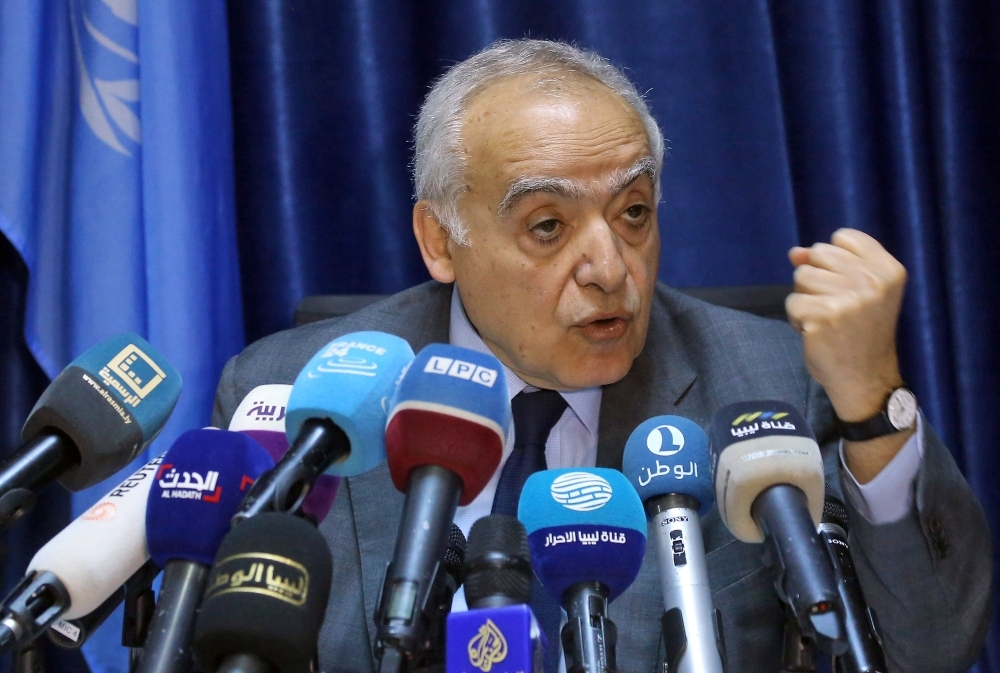 Ghassan Salame, UN special envoy for Libya and head of the UN Support Mission in Libya (UNSMIL), delivers a speech at the mission headquarters in the capital Tripoli on Wednesday. — AFP