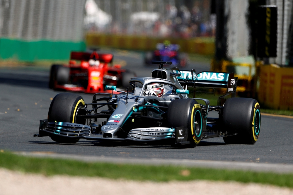 File photo shows Mercedes' Lewis Hamilton in action during practice in this recent photo during the Formula One Australian Grand Prix at the Melbourne Grand Prix Circuit, Melbourne. Formula One will be broadcast live and free-to-air in the Middle East and North Africa under a new five-year deal with MBC Group. — Reuters