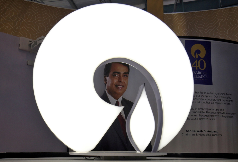 The logo of Reliance Industries is pictured in a stall at the Vibrant Gujarat Global Trade Show at Gandhinagar, India, in this file photo. — Reuters