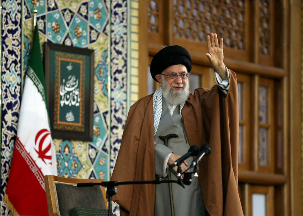 Supreme Leader Ayatollah Ali Khamenei waves his hand, as he delivers a speech on the first day of Persian New Year, also known as Nowruz in Mashhad, northeast of Tehran, Iran, on Thursday. — Reuters