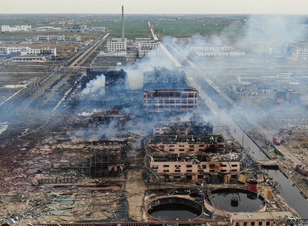 An aerial view shows smoke rising following an explosion at a chemical plant in Yancheng in China's eastern Jiangsu province, on Friday. — AFP