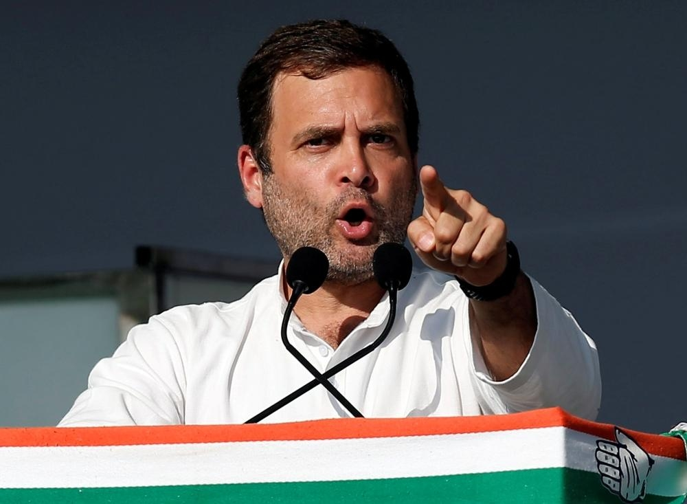 Rahul Gandhi, president of India's main opposition Congress party, addresses his party's supporters during a public meeting in Gandhinagar, Gujarat, India, in this March 12, 2019 file photo. — Reuters