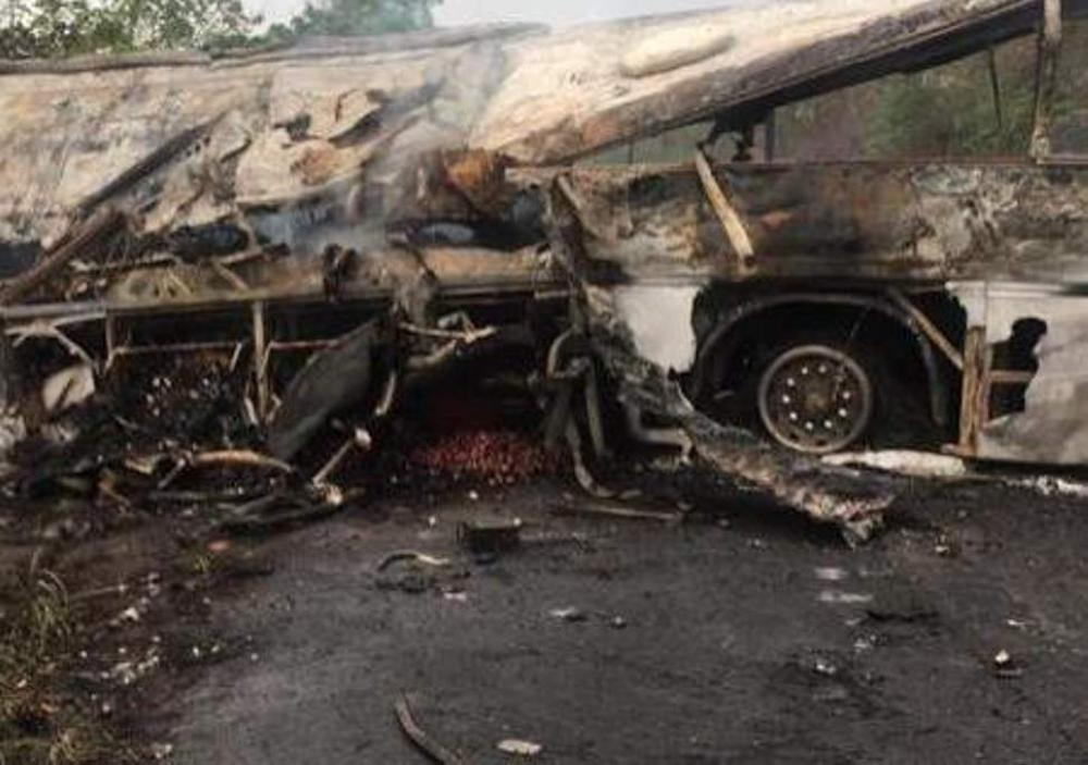A view of the burned bus near Kintampo in Bono East region, Ghana, on Friday. — Courtesy photo