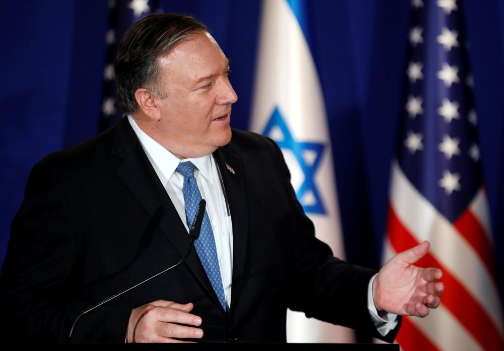 US Secretary of State Mike Pompeo speaks during a visit to Israeli Prime Minister Benjamin Netanyahu official residence in Jerusalem on Thursday. — Reuters